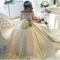 Gorgeous Long Sleeve Boat Neck Prom Gown Beads Appliques Lace Wedding Party Dresses Custom Made