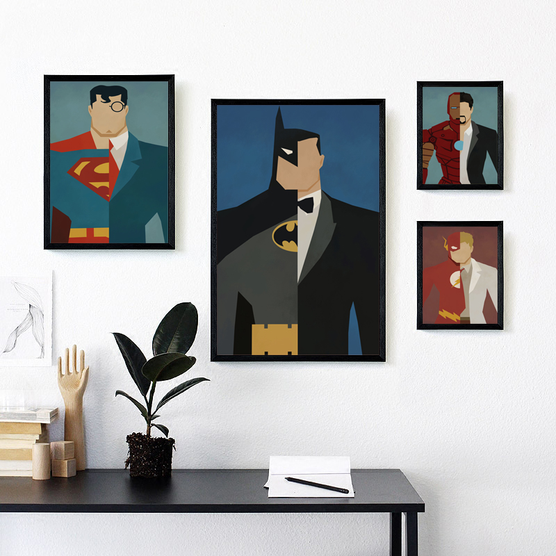 Bianche Wall Superhero Avenger Batman Iron Man Marvel Comics Canvas Painting Print Poster Picture Wall Painting Home Decoration