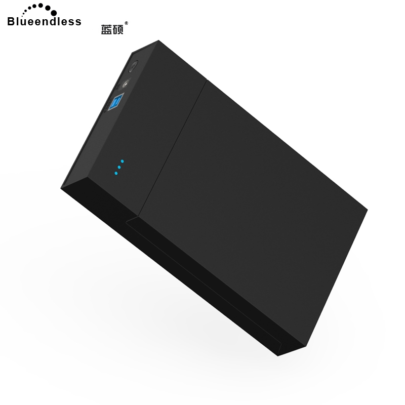 Blueendless 2018 3.5' HDD Enclosure Case Plastic USB 3.0 to SATA 12V 2A External Hard Drive Box Caddy for Notebook Desktop PC