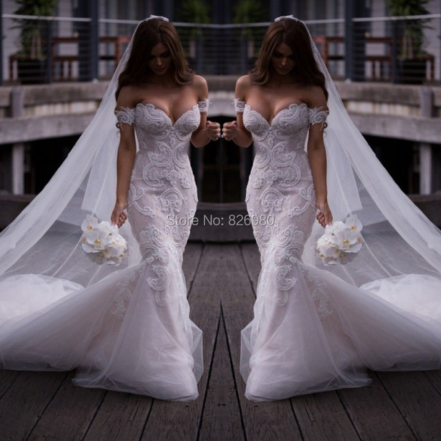Real Photos Vintage Detachable Strap Mermaid Wedding Dresses Lace Beaded Off The Shoulder White Sexy 2016