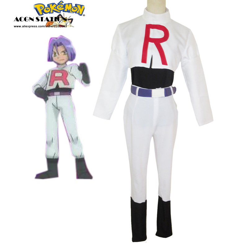 Free Shipping Costume Pocket Monster Team Rocket Costume James Cosplay For Kid Costume And Adult Costume