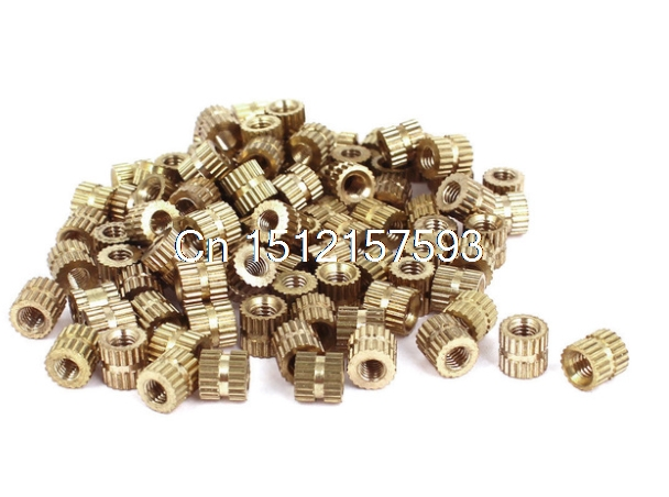 100Pcs <font><b>M3x5mm</b></font>(L)-5mm(OD) Metric Threaded Brass Knurl Round Insert Nuts image