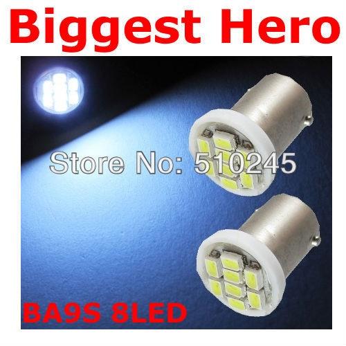 500XFree shipping Car Auto LED BA9S 8SMD 6523 1895 H6W T4W 8 led smd 1206 Wedge LED Light Bulb Lamp White