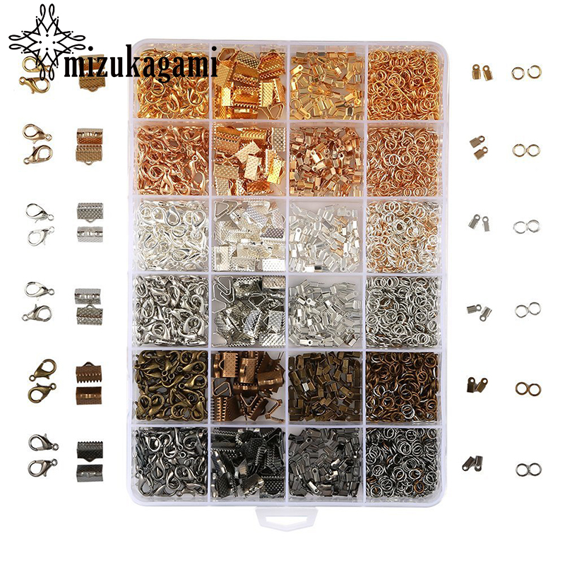 1Box 4 Colours Jewelry Making Lobster Clasp Jump Ring Beads End Cup Necklace Ending Making Material For DIY Jewelry Accessory