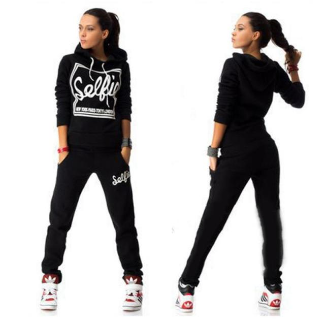 Winter Tracksuit Women Letter Print Casual Hoodies  Suit Sweatshirt+Pants