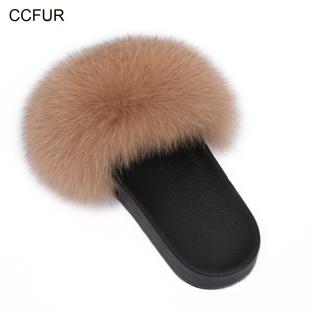 2019 New Fur Slides Women's Real Fox Fur Slippers Shoes Flip Flops Flat Fluffy Fur Sliders Retail Wholesale S6018F