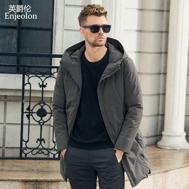 Enjeolon Marque nouvelle hiver Coton Rembourré longue Veste Hommes épais hoodies Parka manteau mâle d'hiver Matelassé veste Manteau 3XL MF0060
