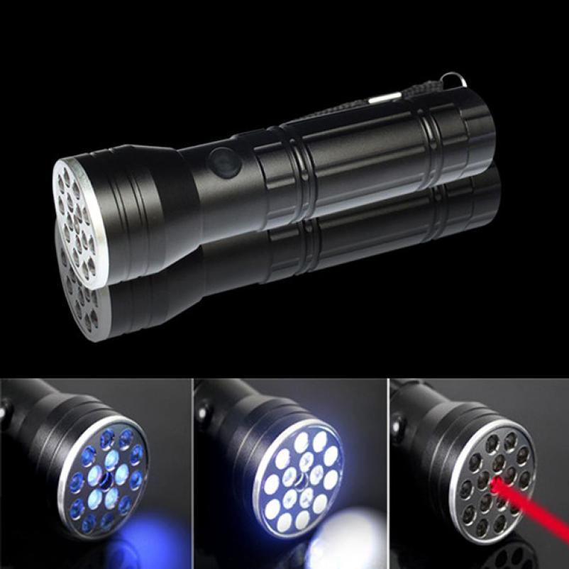New Black LED Powerful 3 in 1 Multi Function Torch Flashlight Laser Ultraviolet Super Bright Waterproof Strong UV Light PJ5