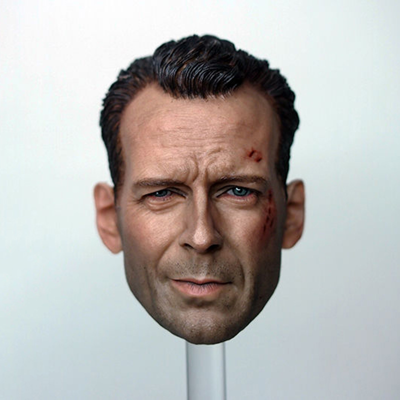 купить 1/6 Male Head Sculpt Model Movie Star Bruce Willis Carving Wounded High Quality For 12