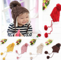 1-5 years Children's Hats Winter Earflap Crochet Hat For Children Boy Girl Warm Cap Red Pink Yellow Beige Blue Brown HT14