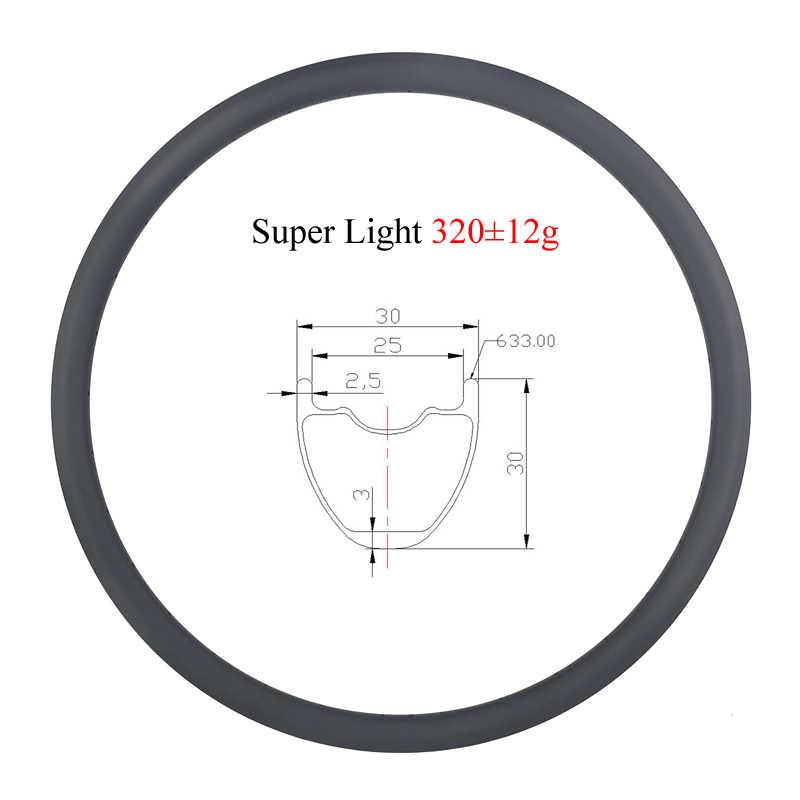 LIENGU light 320g 29 pouces vtt XC tubeless 30mm pneu sans crochet jante carbone 29er 30mm roue de VTT de fond profonde 24H