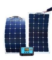 Монокристаллическая солнечная панель 200 Вт Складные Гибкие панели 2 шт. 18 в 100 Вт с 20А контроллером 12 В или 24 В 200 Вт 100 Вт система