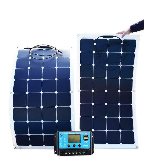 Panneau solaire monocristallin 200 W pliable flexible panneaux 2 pièces 18 V 100 w avec 20A Contrôleur 12 V ou 24 V 200 Watts 100 Watts système