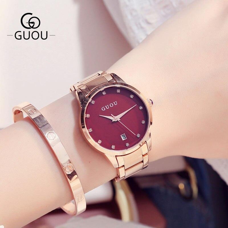 GUOU Марка Модные Роскошные Часы Для женщин Повседневное Водонепроницаемый кварцевые со стразами женские наручные часы Montre Femme Relogio feminino