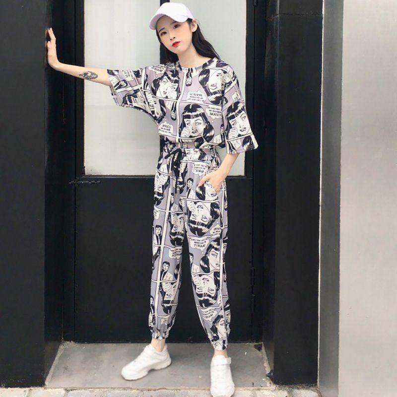 Women Fashion Cartoon Printed Short Sleeves T Shirt Tops+Long Pants Harajuku Two Piece Set Korean Casual Tracksuits Suit Hip Hop