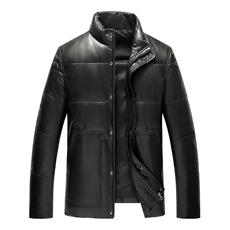 2018 top quality black real sheepskin coat winter white duck down jacket stand collar slim casual genuine leather jacket men