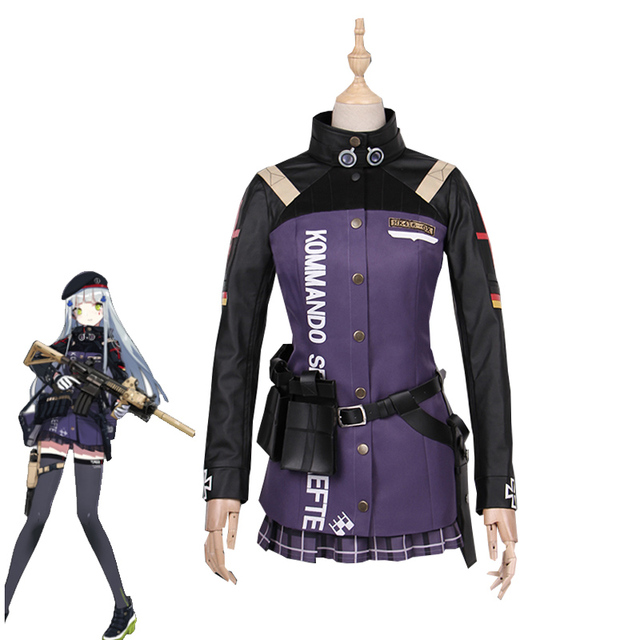 cf9e279477a5f New Arrival Game Girls Frontline HK416 Cosplay Costume Girls Purple Battle  Suit Halloween Carnival Uniforms Full