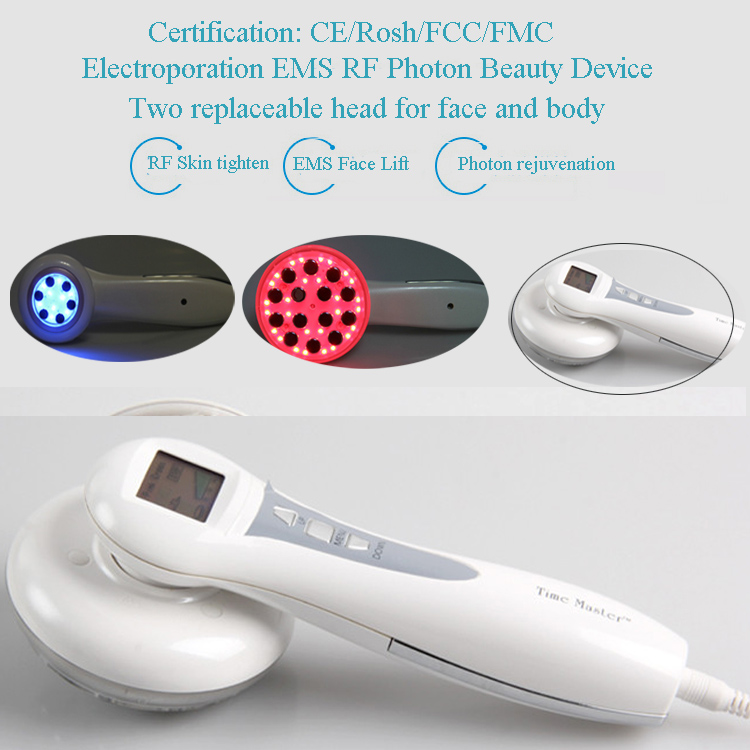 4 IN 1 Electroporation  Mesotherapy + RF Radio Frequency+Bio Microcurrent EMS + Blue Red Photon Face And  Body Beauty Massager mini rf electroporation mesotherapy radio frequency ems microcurrent face and body slimming massager free shipping