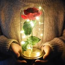 Led light Red rose in Glass Dome Silk Sesame Flower Lights on Wooden Base for Valentine's Day Birthday Gift Decor цена 2017