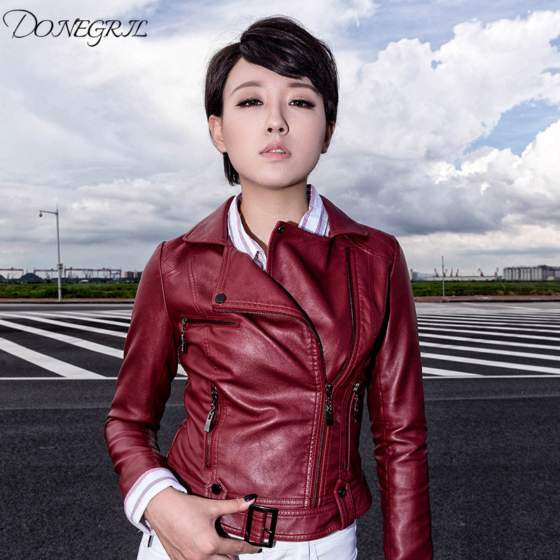 New Women PU   Leather   Jacket 2018 Lapel   Leather   Women Short Slim PU Jackets Outerwear Fashion Cool Motorcycle Clothes Short Coat