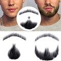 100% cabelo humano falso homem barba maquiagem bigode perfeito para traje e festa feito à mão jinkaili