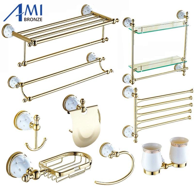 63GD Series Golden Polish Brass & Diamond Wall Mounted Bathroom Accessories Sets Towel Rack Towel Shelf Hook Paper Holder стоимость