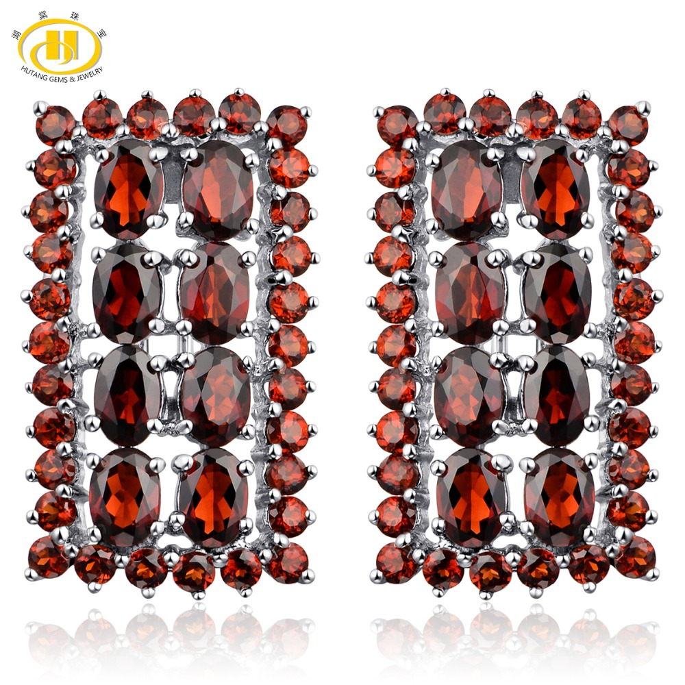Hutang Purple Garnet Clip Earrings Strong 925 Sterling Silver 14.52ct Pure Gemstone High-quality Style Stone Jewellery Greatest Luxurious Reward Earrings, Low-cost Earrings, Hutang Purple Garnet Clip Earrings Strong 925...