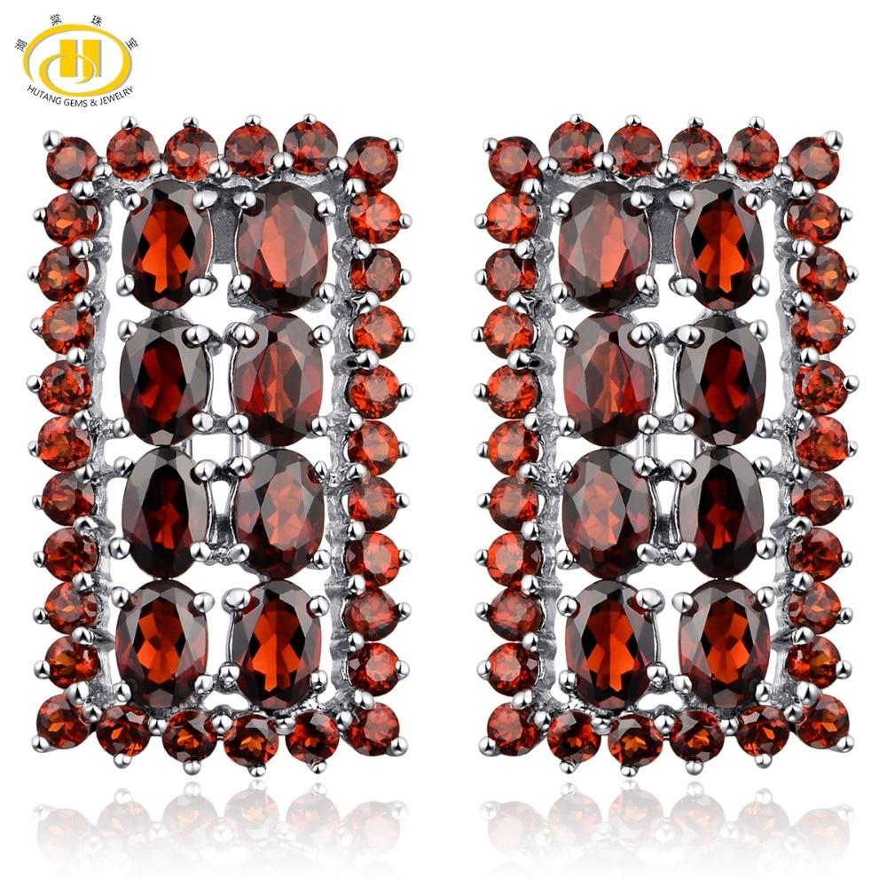 Hutang rouge grenat femmes Clip boucles d'oreilles solide 925 en argent Sterling 14.52ct pierres précieuses naturelles bijoux fins pour le meilleur cadeau de luxe
