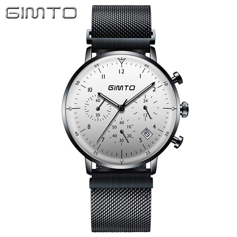 GIMTO Marque montre de luxe pour homme Mince En Acier Sport Quartz Horloge Carendar Lumineux Étanche D'affaires montres masculines Militaire Relogio