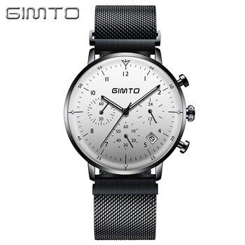 Gimto 브랜드 럭셔리 남성 시계 얇은 스틸 스포츠 쿼츠 시계 carendar 빛나는 방수 비즈니스 남성 시계 군사 relogio