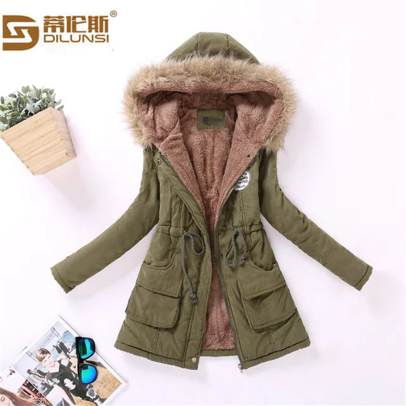 2016 Winter large size cotton jacket women large wool collar hooded coat femme cotton lamb wool