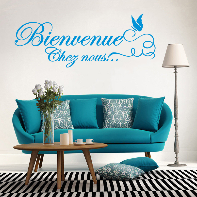 Կպչուն պիտակներ Ֆրանսիական Citation Bienvenue Vinyl Wall Sticker Decal Mural Wall Art Wallpaper for Living Room Home Decor Decoration House