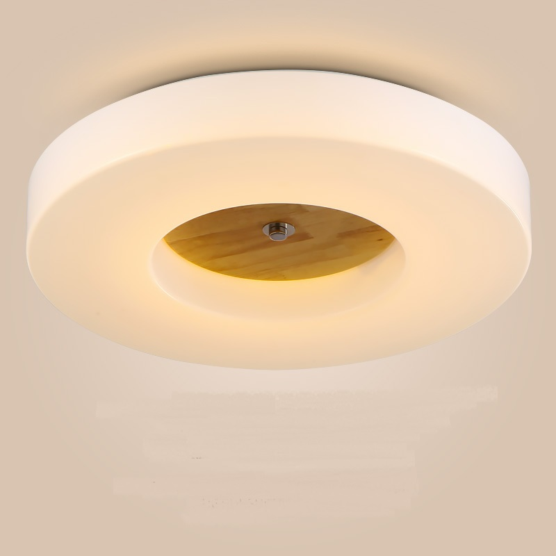 Simple Round LED ceiling lights living room bedroom corridor study lighting Personality fashion wood+acryl ceiling lamps FG140