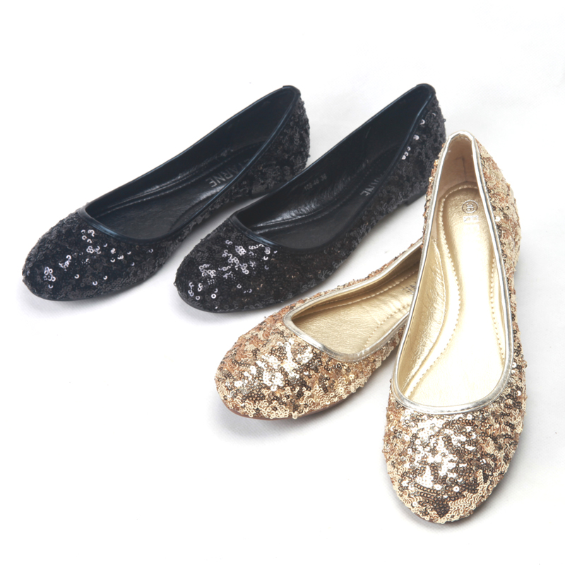 Detail Feedback Questions about Gold black paillette women s shoes shallow  mouth round toe flat bottomed Size 9 Women Flats on Aliexpress.com  28631c50a767