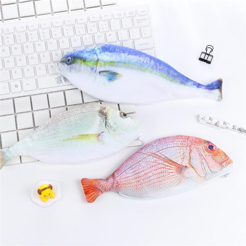 Creative Sea Fish Shape Office Desk Pencil Case Storage Bag Coin Purse Cosmetic Pouch ...
