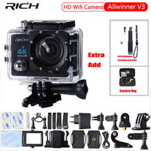 RICH Action camera Hd 4K 170 degree wide angle 30M WIF Sport Camra Deportiva Extra Aluminum