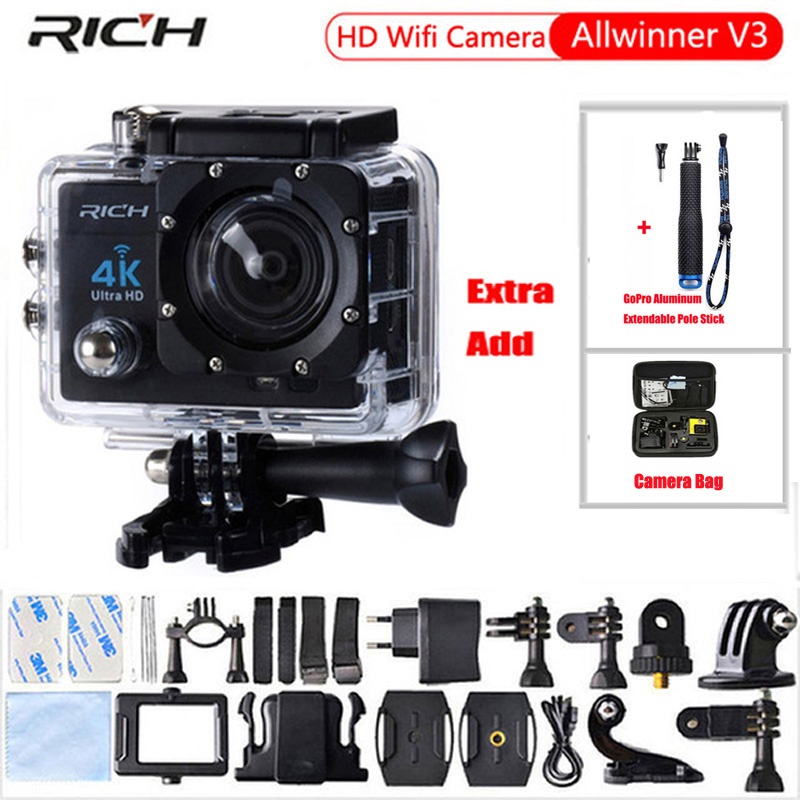 Galleria fotografica RICH Action camera Hd 4K 170 degree wide angle 30M WIF Sport Camra Deportiva Extra Aluminum Extendable Pole Stick+bag