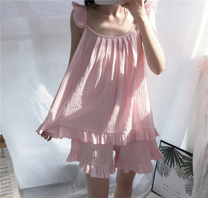 Image 2 - 2018 Cute Sweet Solid 3 Colors Homewear Pajamas Women Girls Pajama Set Camis Elastic Waist Shorts Cotton Lounge pyjamas S85321