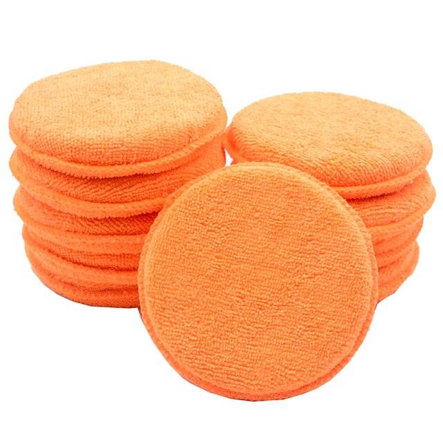 10 pcs Suave Microfibra Aplicador de Cera Do Carro Almofadas de Polimento Esponja Remover A Cera Detalhamento Wash Limpa Cuidados de Pintura Cor Laranja