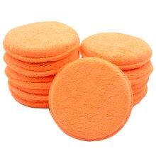 Tampons applicateurs de cire de voiture en microfibre douce, éponge de polissage pour enlever la cire, lavage des détails, peinture propre, soins, couleur Orange, 10 pièces