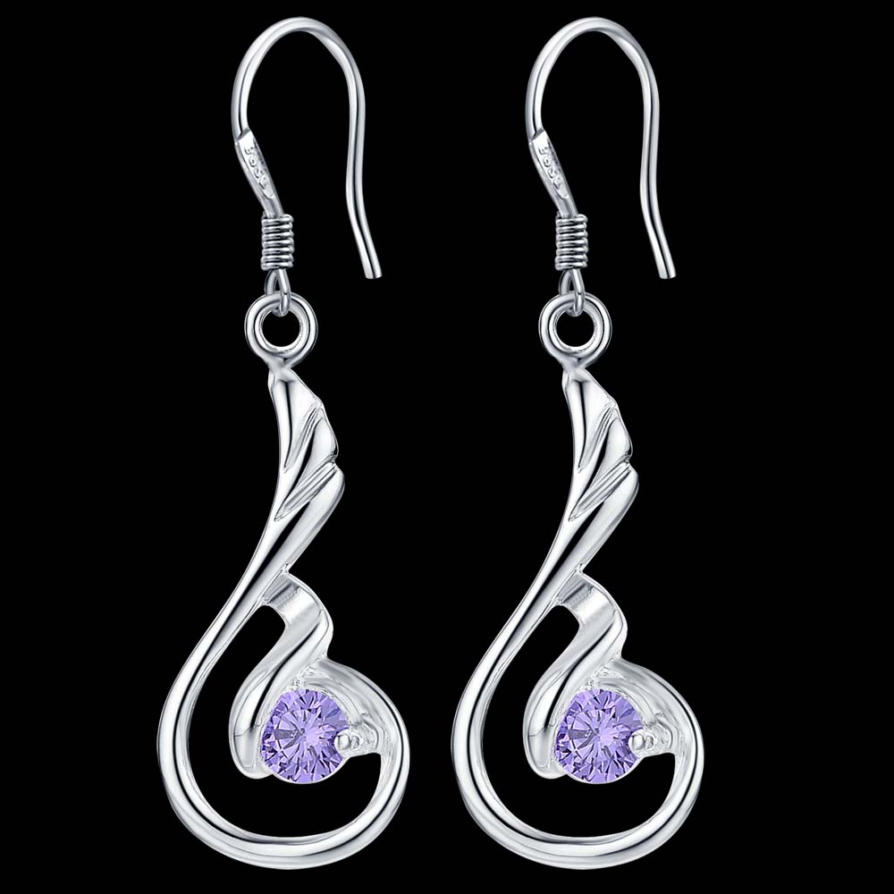 2017 Fashion Silver Jewelry Charms Costume Jewelery Earrings For Women  Purple Drop Earrings Accessories For Jewelry