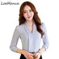 Fashion Women Long Sleeve V Neck Shirt Ol Slim Elegant Business Formal Chiffon Blouse Office Ladies