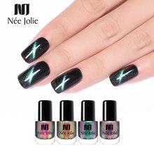 NEE JOLIE Holographic Chameleon Cat Eye Nail Polish Magnetic Nail Art Varnish Magnet Nail Art Lacquer Black Base Needed