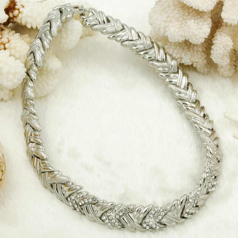 2017 Classic Dubai New Silver Jewelry Set African Women Short Crystal Necklace Earrings Italian Fashion Wedding Accessories