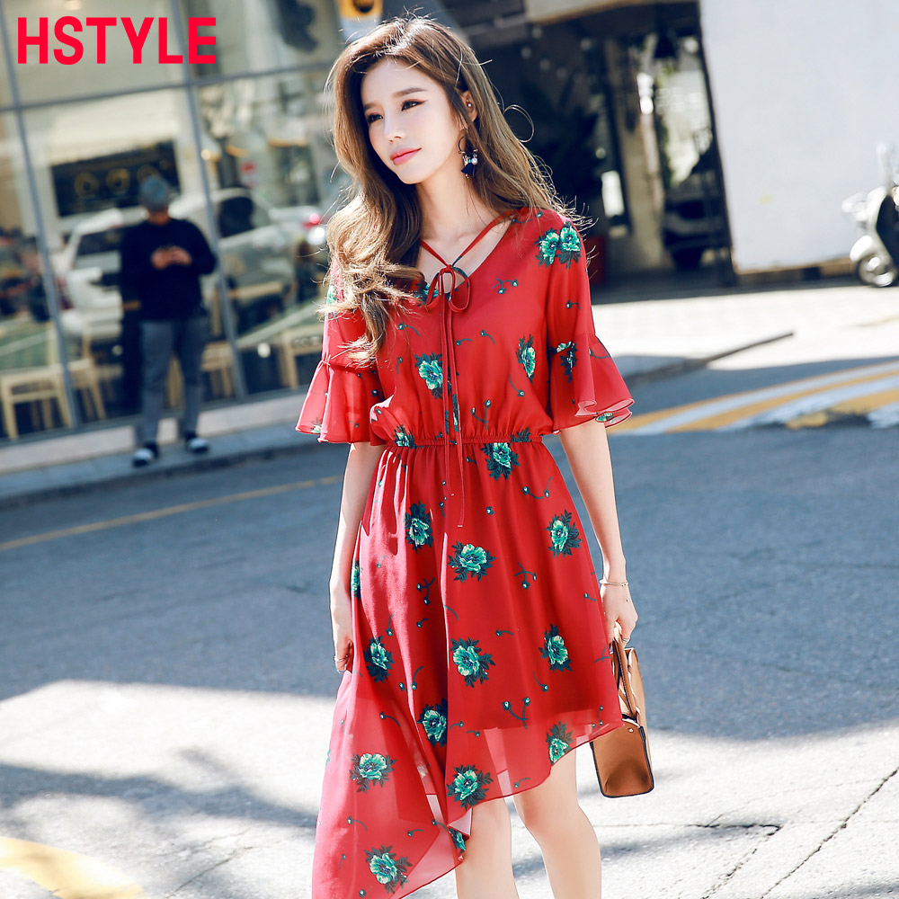 HSTYLE Sommer Red Floral Volant Kleider für Frauen Lace up vintage ...