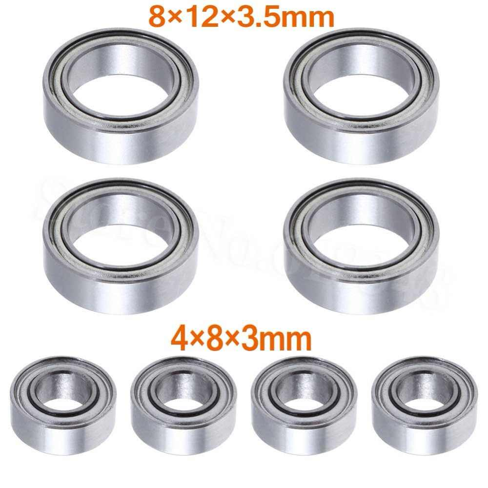 8 P Kogellagers 4x8x3mm 8x12x3.5mm Voor HSP Himoto E18 WLtoys 1/18 RC Auto Onderdelen A949 A959 A969 A979 A959-B A949-33 A949-36
