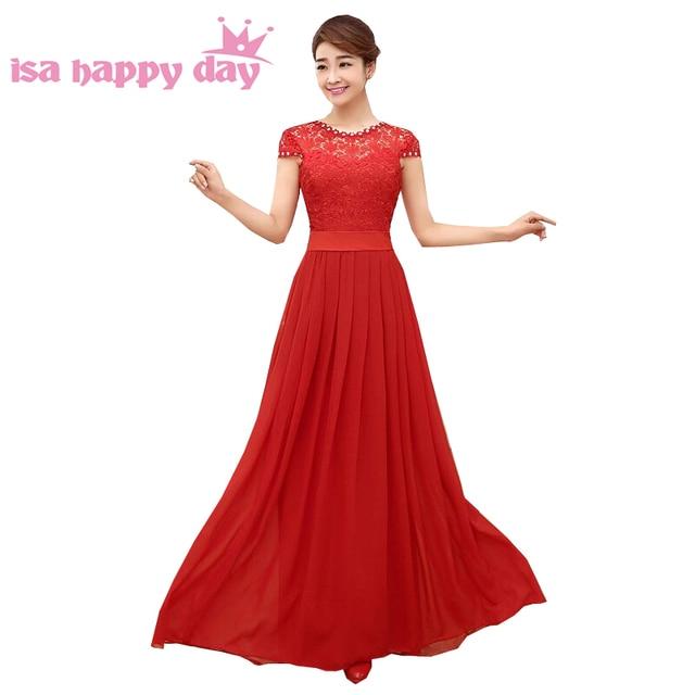 Rojo Top de encaje elegante dama de honor de longitud vestidos ...