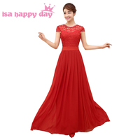 red top lace elegant bridesmaid floor length occasional dresses women bride maids day dress long 2017 size gown B3099