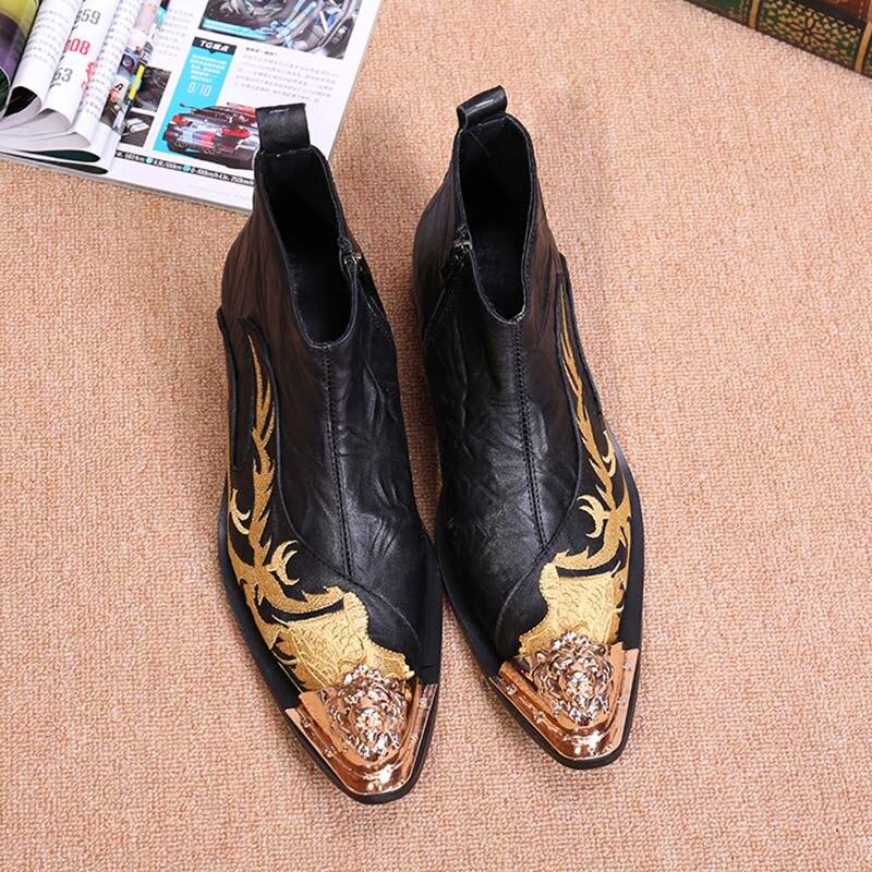 Batzuzhi Designer bout en métal noir haut en cuir hommes chaussures mode Zipper court bottine pour hommes chaussures brodées noir - 4