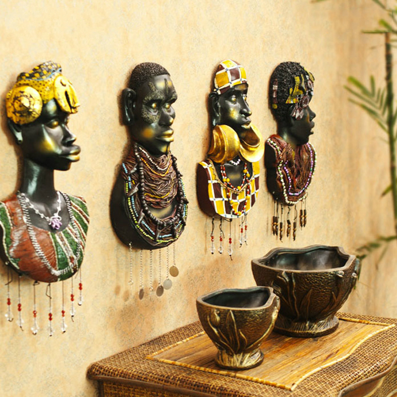 Africa earthsongs resin portrait mural creative wall hanging decoration high quality 3D design simulate statue bar/home decor